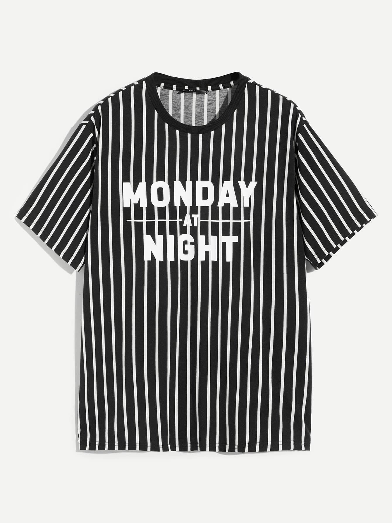 Купить Мужская полосатая футболка униформы с принтом букв, null, SheIn