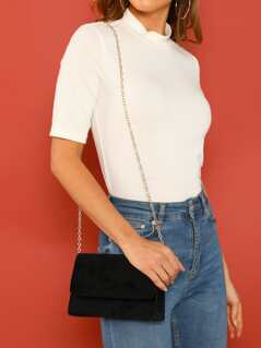 Velvet Flap Clutch With Detachable Chain Strap