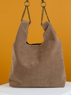 Paper Bag Bucket Top Handle Chain Detail Mini Tote