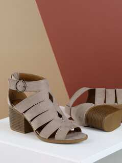Strappy Cut Out Side Buckle Stacked Heel Sandals