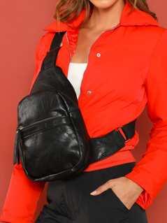 Dual Compartment Adjustable Shoulder And Bum Bag