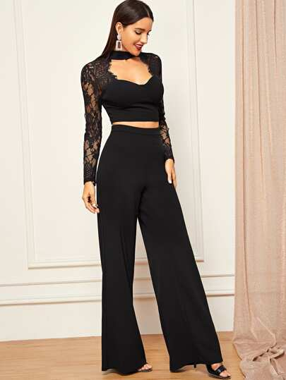 Open Front Lace Contrast Crop Top & Wide Leg Pants Set