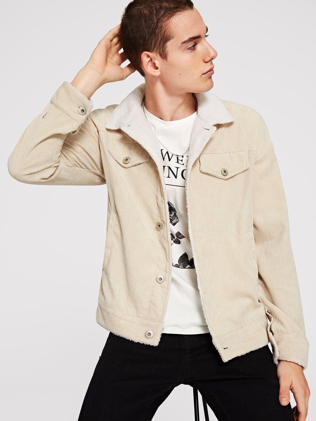 Купить Мужская короткая вельветовая куртка на пуговицах, Misha, SheIn