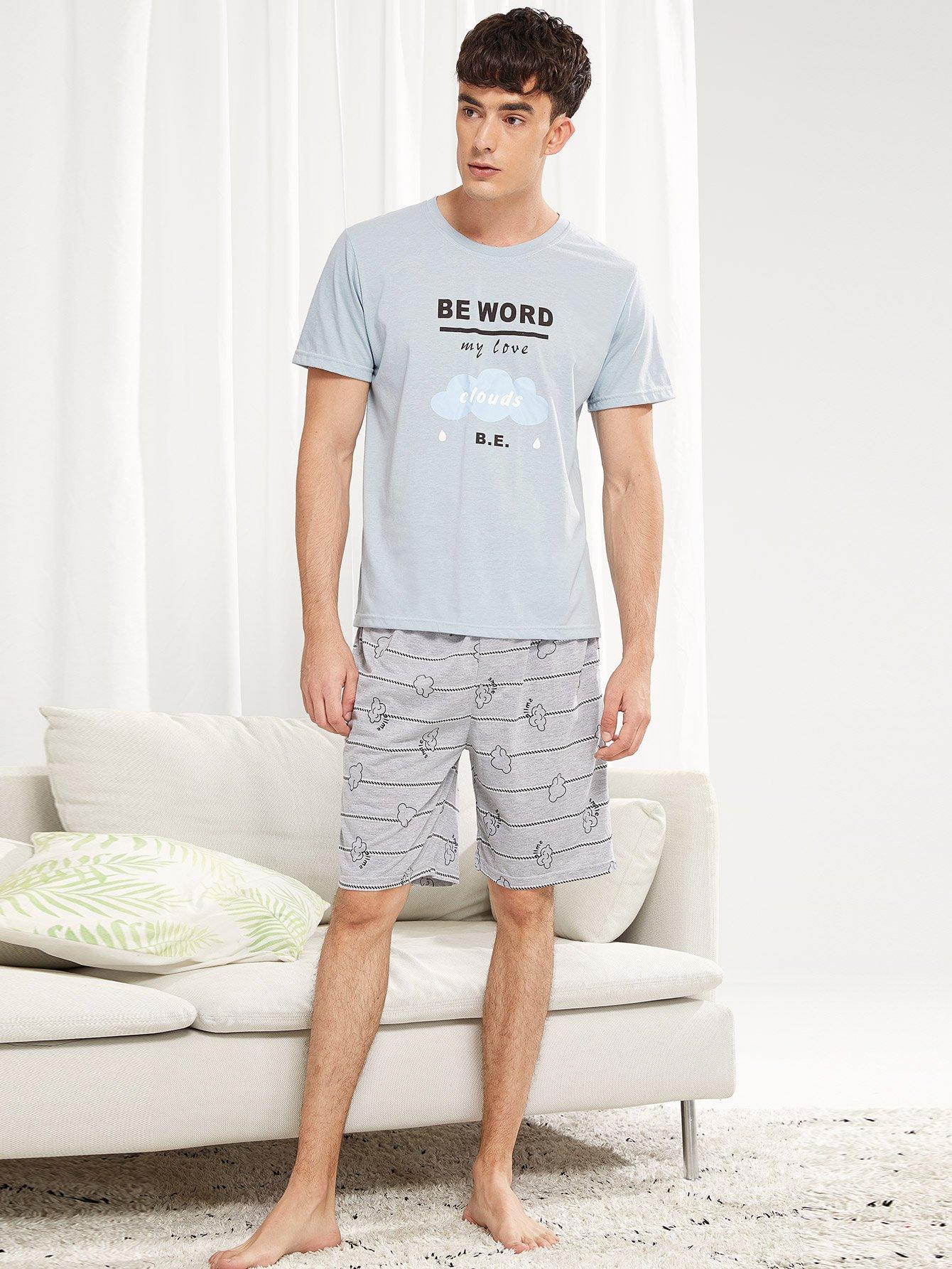 Мужчины Облако и письмо Печать Pajama Set от SheIn