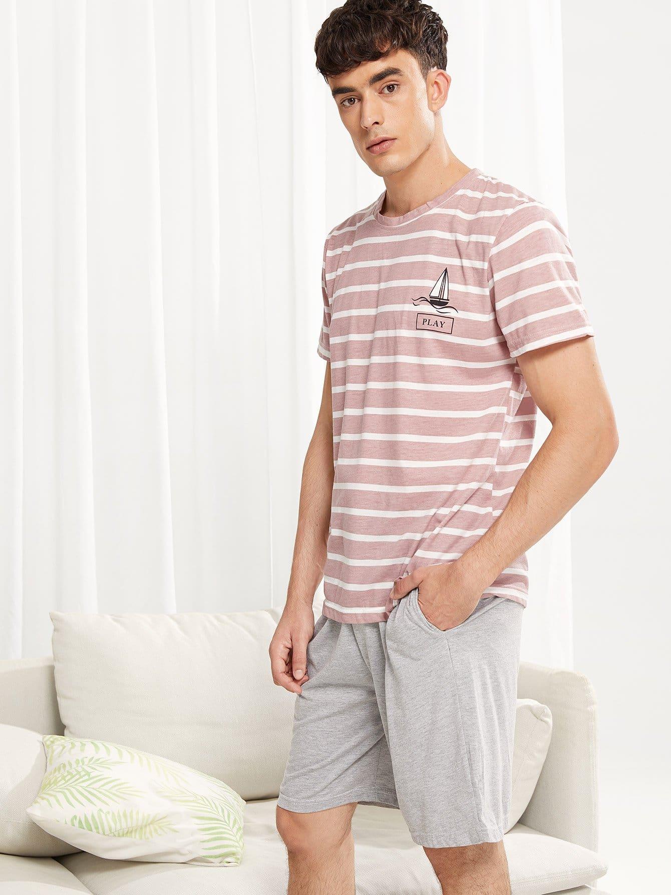 Набор полосатой пижамы с рисунками лодк от SheIn