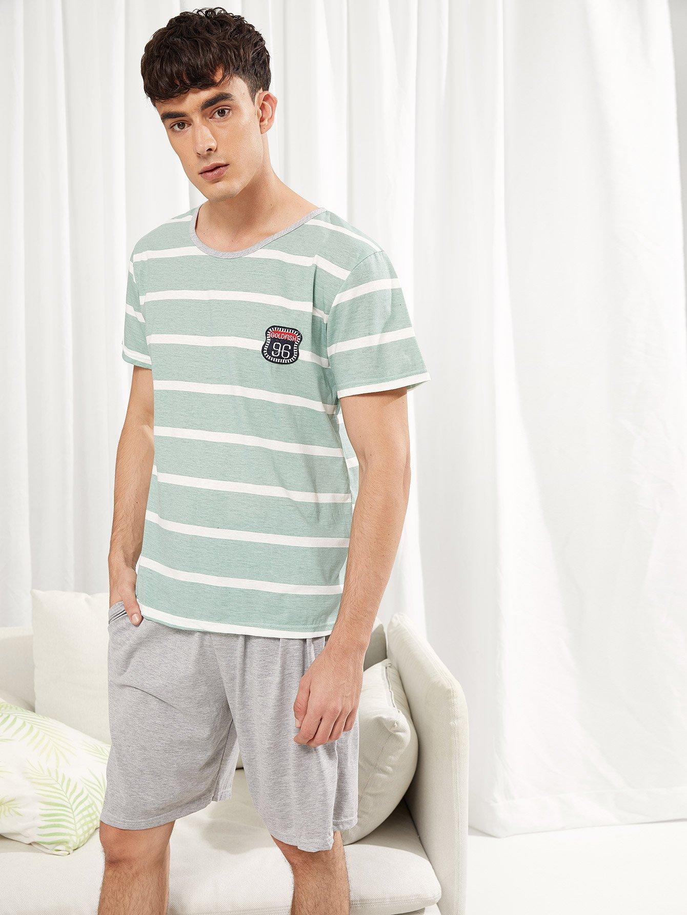 Купить Набор полосатой пижамы и с рисунками буквы вышивки для мужчины, Antonio, SheIn