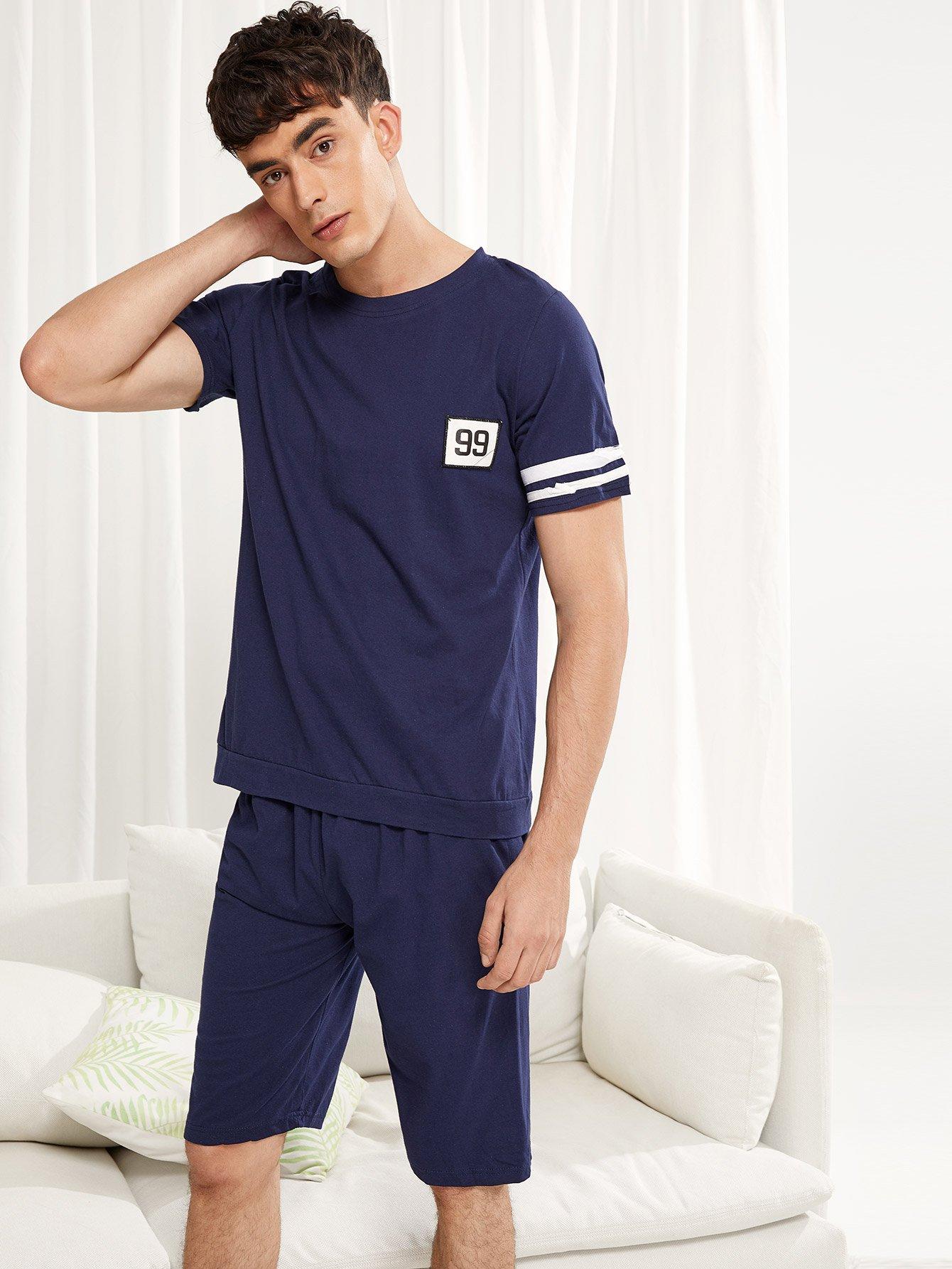 Купить Набор пижамы и с рисунками буквы и с полосатыми рукавами для мужчины, Antonio, SheIn