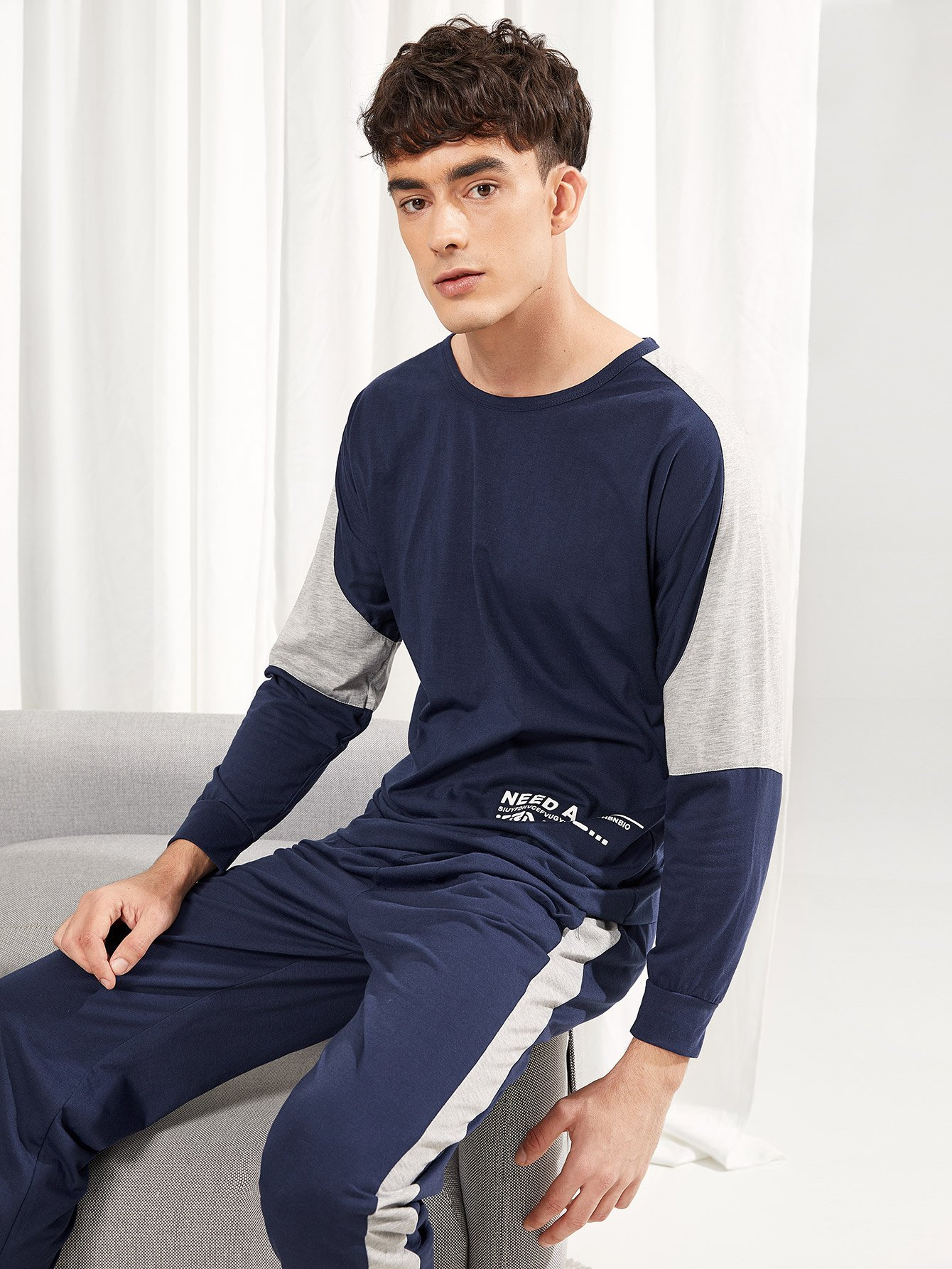 Комплект пижамы с рисунками буквы для мужчины от SheIn