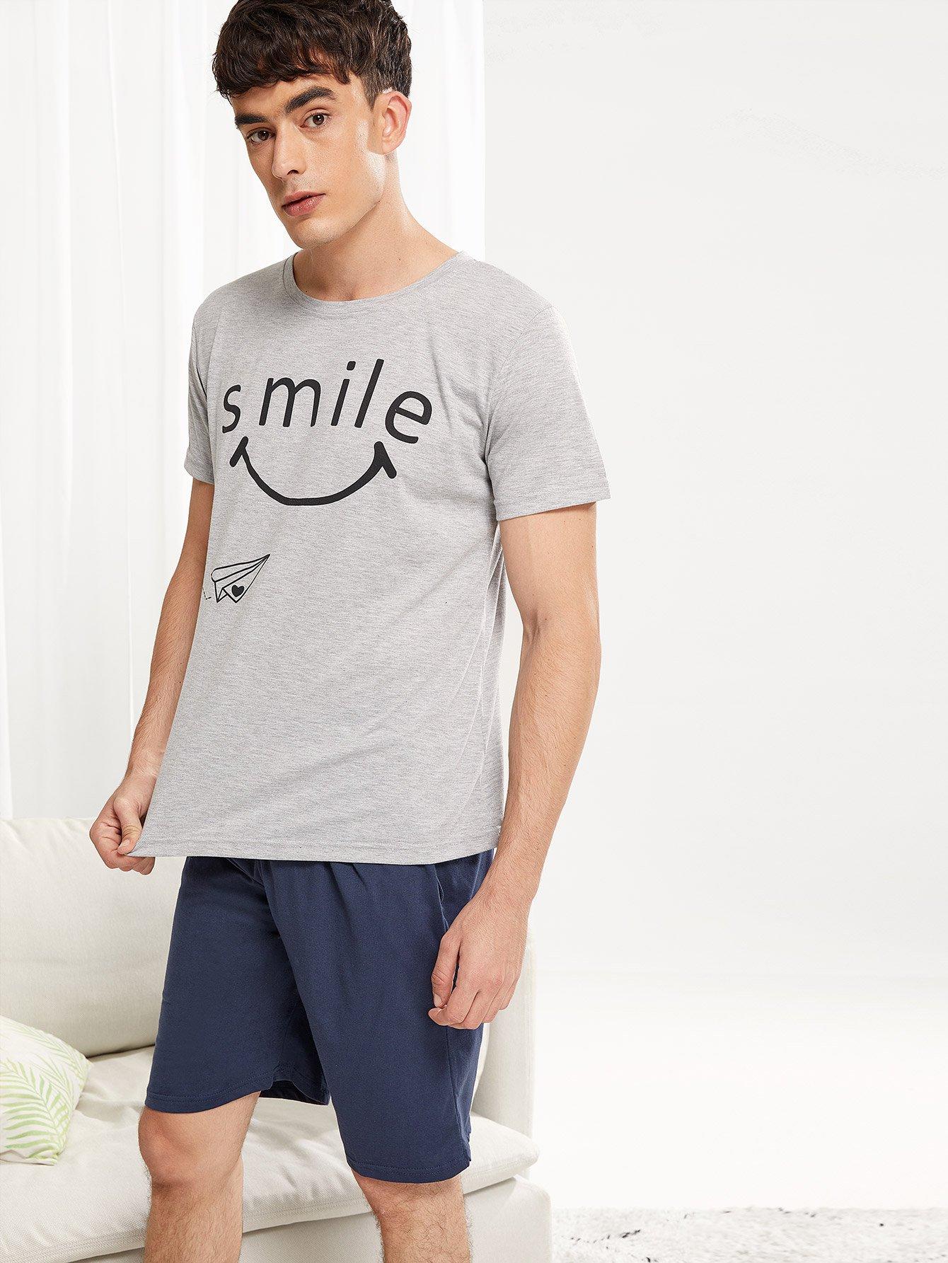 Комплект пижамы с рисунками улыбки для мужчины от SheIn