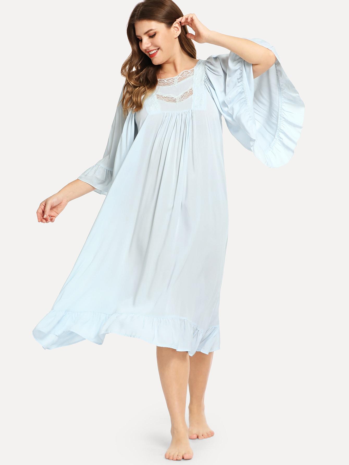 Купить Большая асимметричная ночная сорочка со симметрическими кружевами, Isabela, SheIn