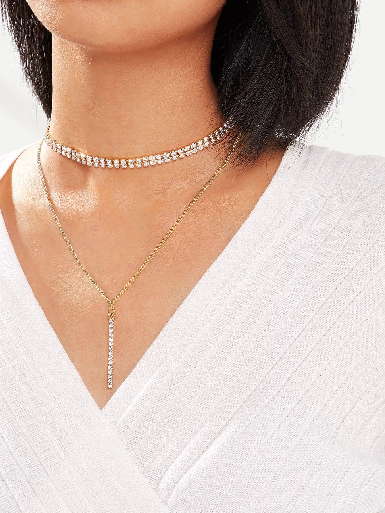 Фото - Ожерелье из хрусталей и ожерелье с подвеской бара 2 шт от SheIn цвет золотые