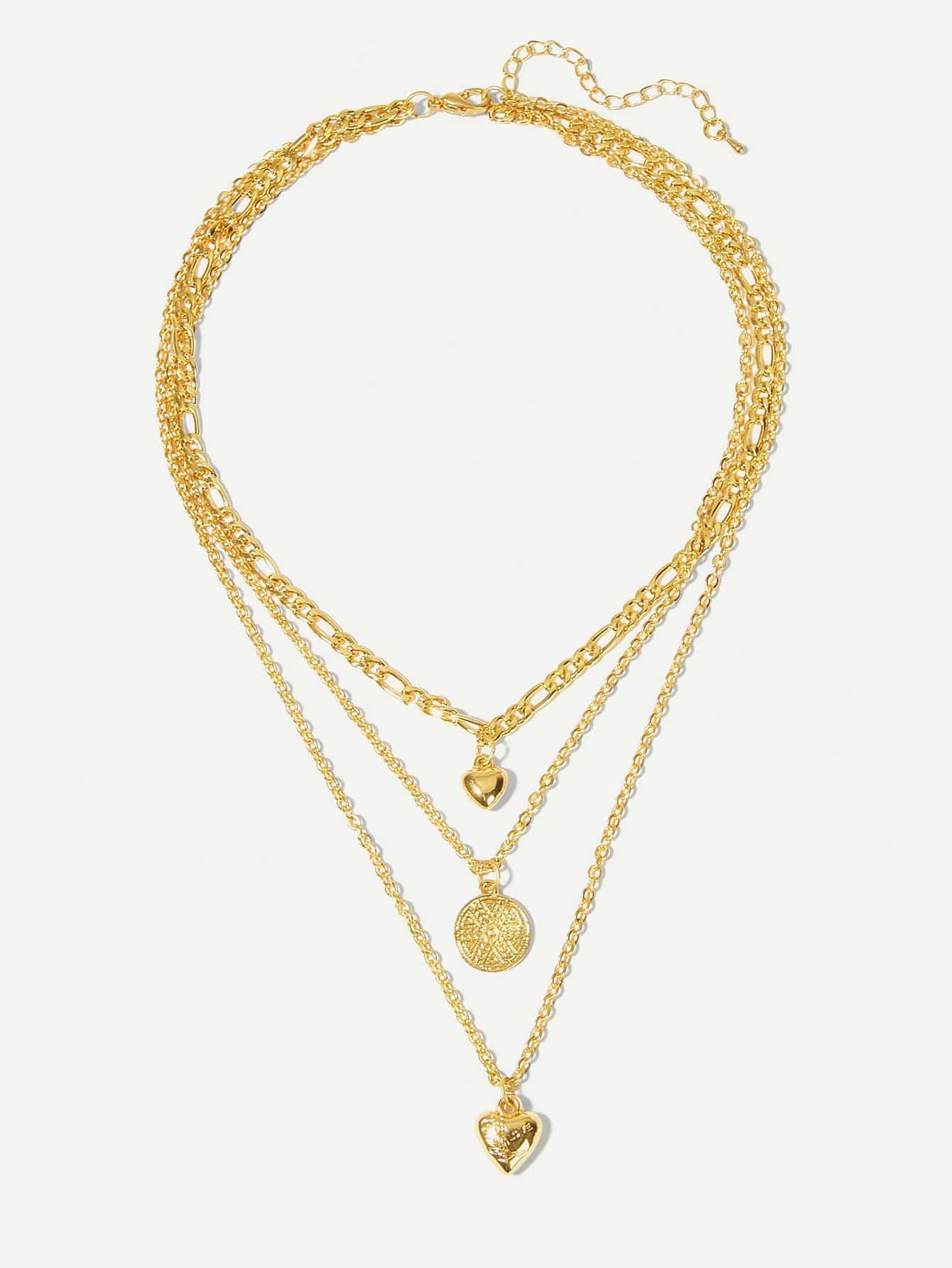 Фото - Цепное ожерелье с подвеской сердца и круга от SheIn цвет золотые