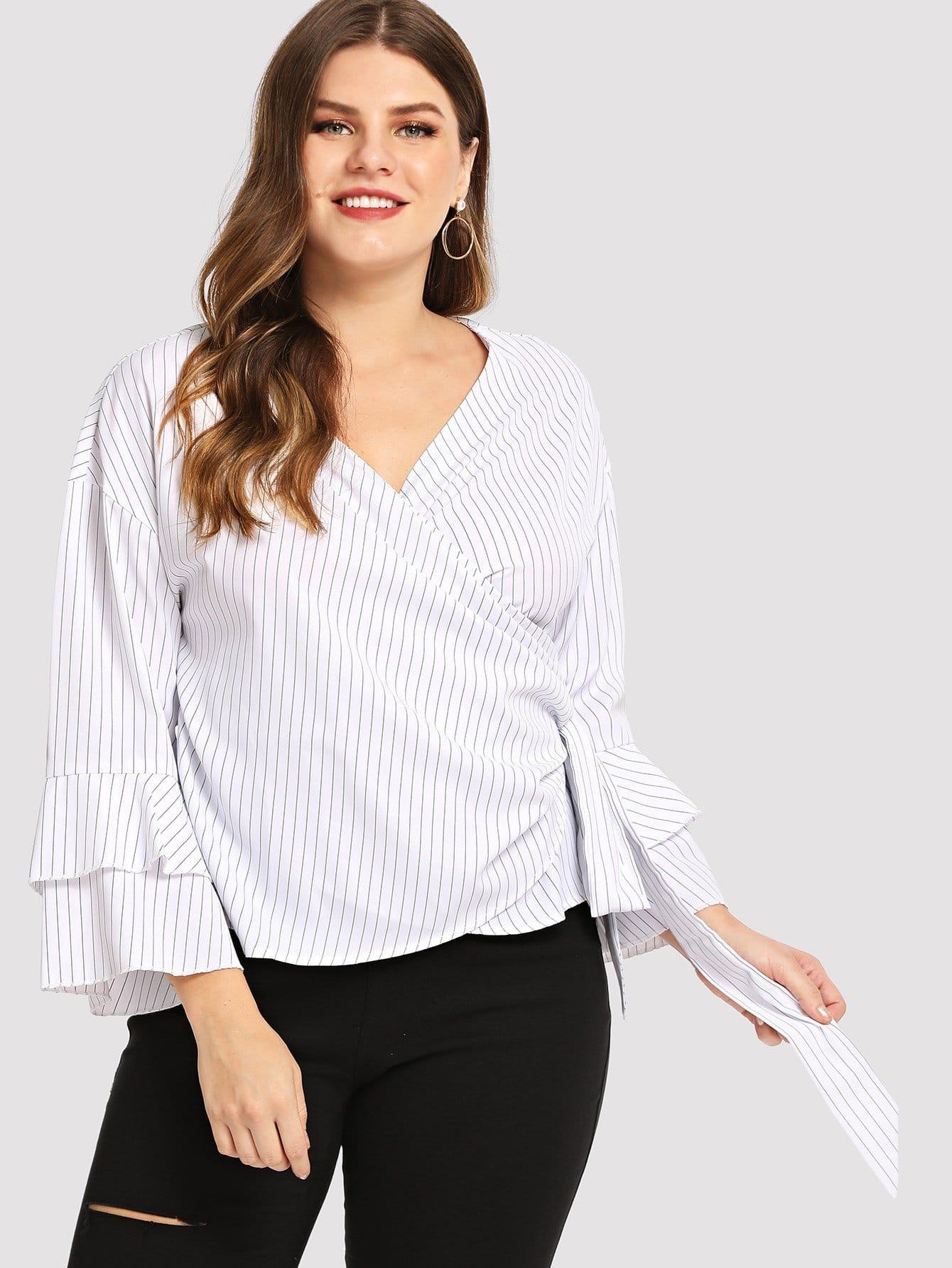 Купить Тонкая-полосатая блуза с накрахмаленными отверстиями рукава, Isabela, SheIn