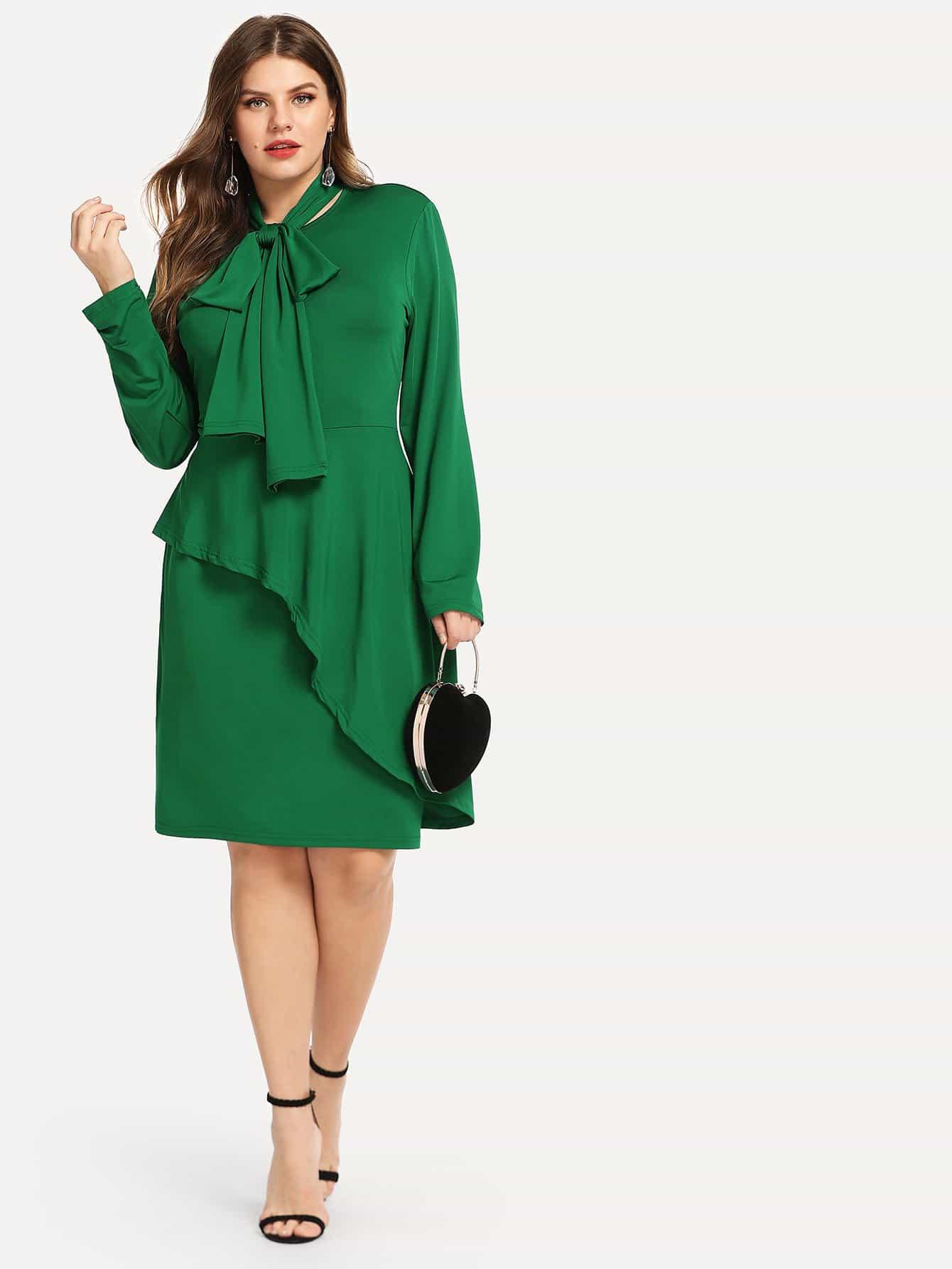 Купить Плюс размеры твердое платье, Isabela, SheIn