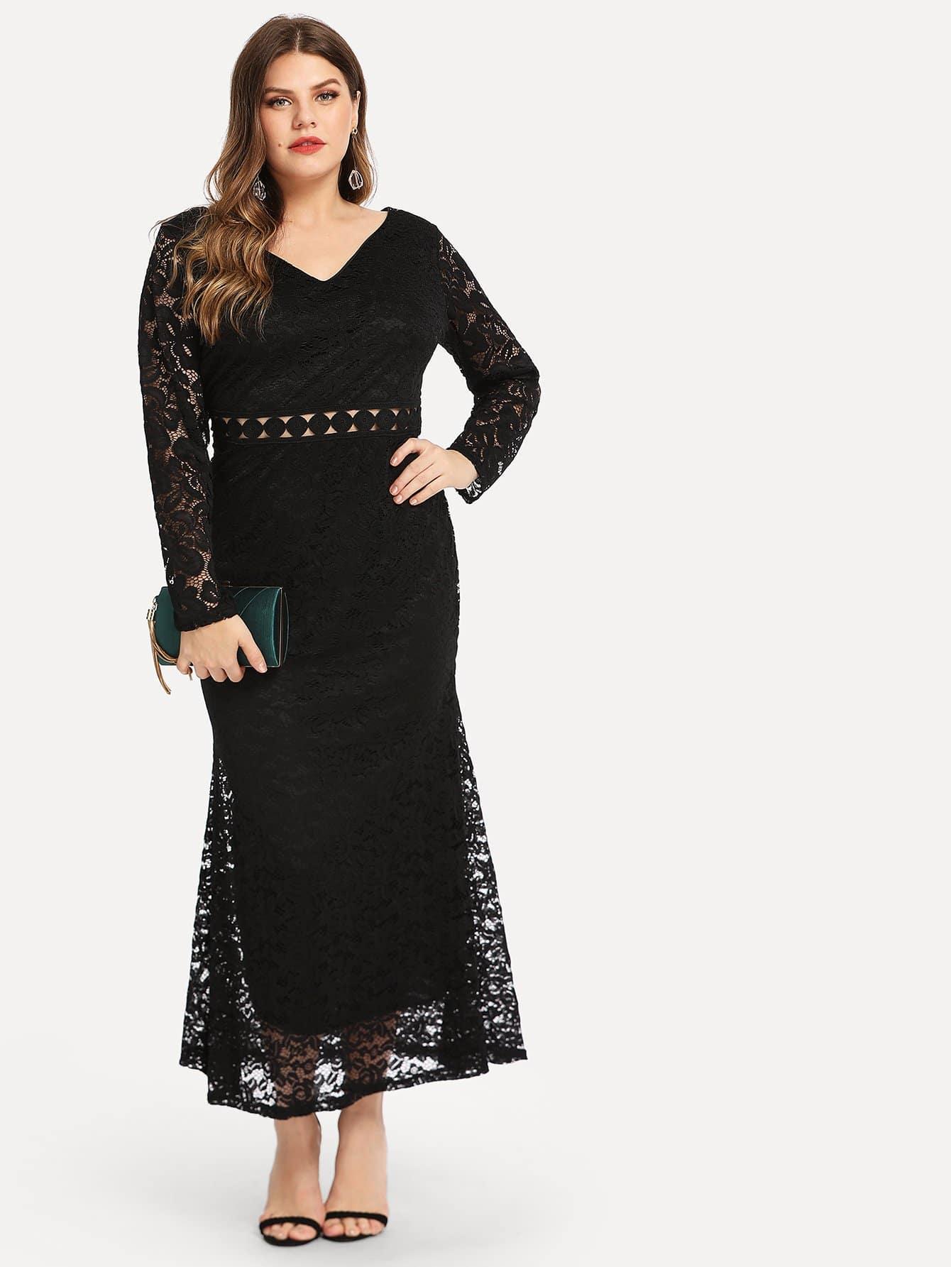 Плюс размеры твердое кружевное платье с v-образным вырезом