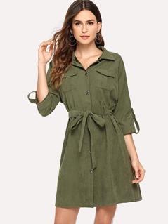 Roll Tab Sleeve Pocket Patched Dress