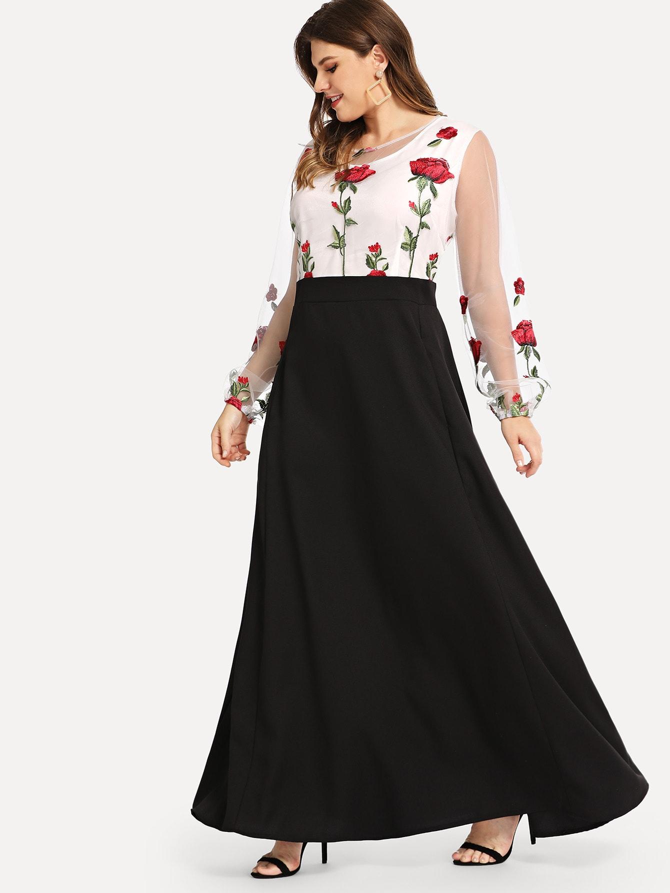 Плюс размеры вышитые сетки платье-клёш