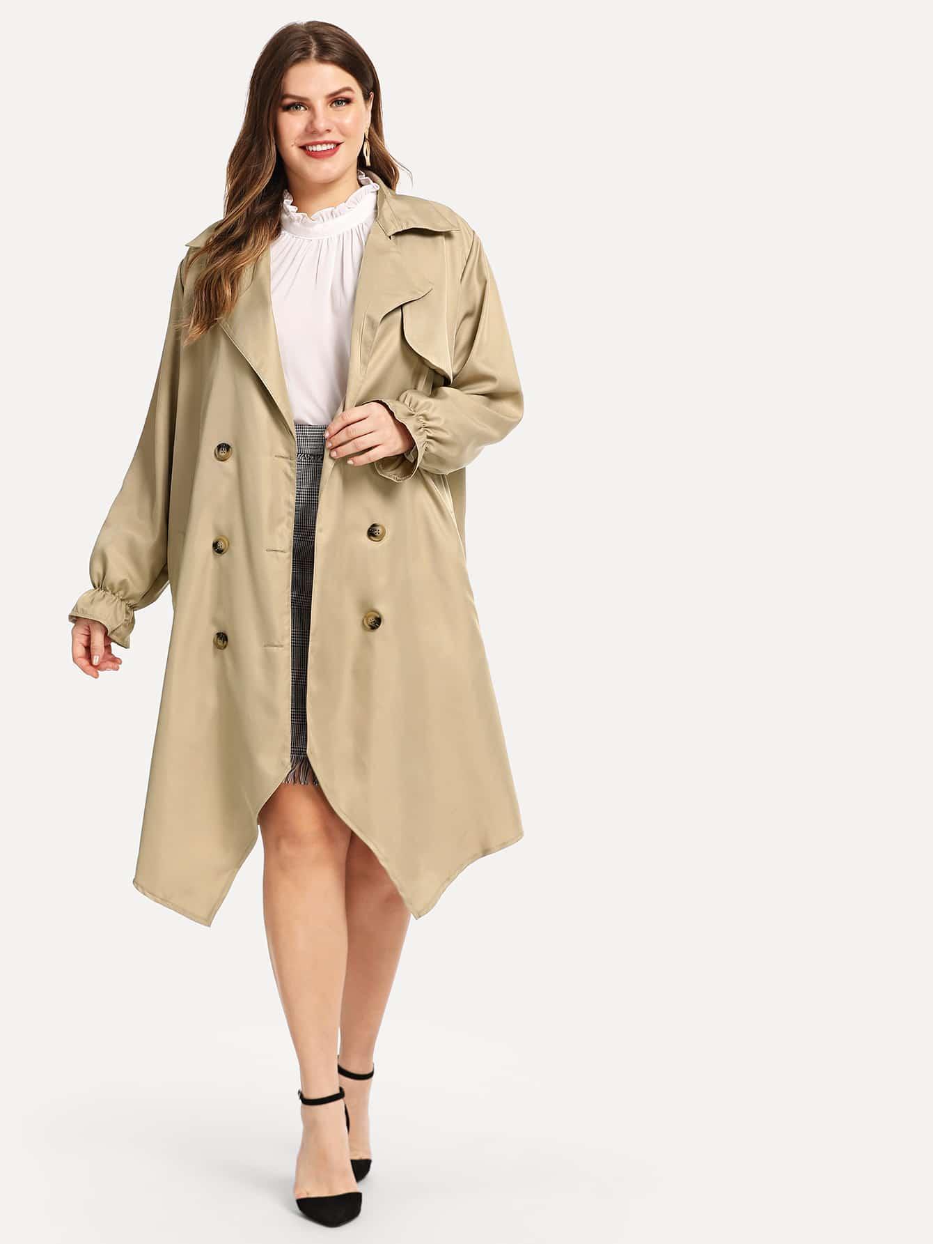 Купить Плюс размеры двубортное пальто с поясом, Isabela, SheIn