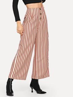 Vertical Stripe Button Up Pants
