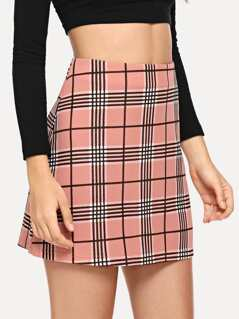 Zip Closure Plaid Skirt