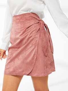 Knot Side Asymmetrical Hem Skirt