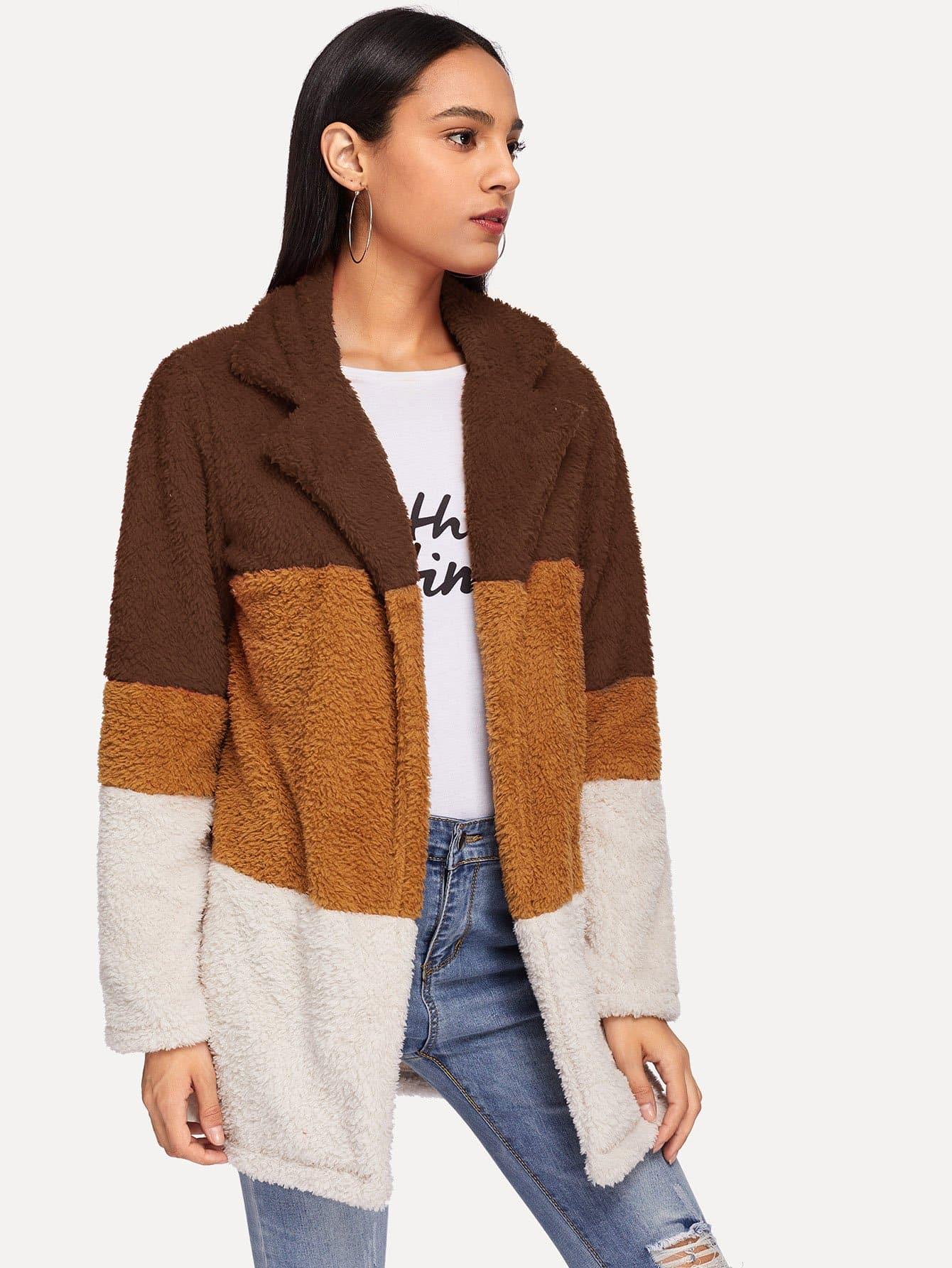 Купить Кроить и шить плоское пальто тедди, Kary, SheIn