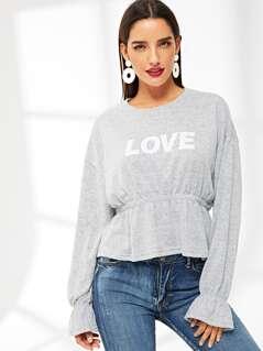 LOVE Print Ruffle Trim Pullover