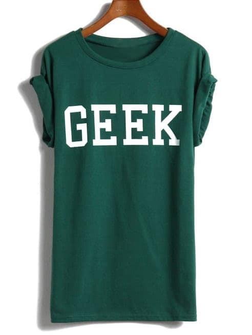 Зелёная футболка с принтом GEEK от SheIn