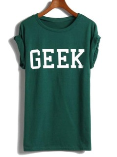 Green Short Sleeve GEEK Print T-shirt