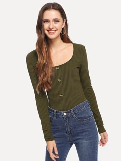 Button Front Rib Knit Tee