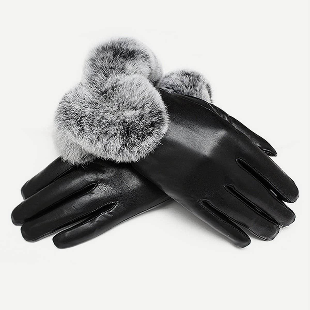Изящные Перчатки Из Экокожи На Меху от SHEIN