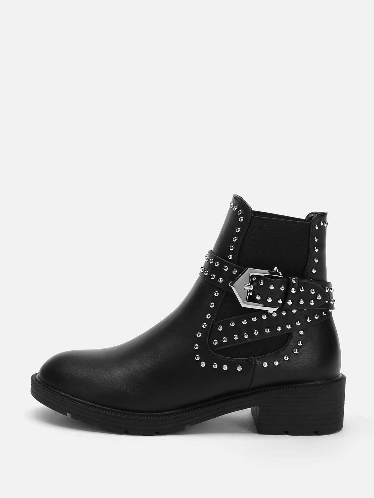 Stud & Buckle Decorated Boots