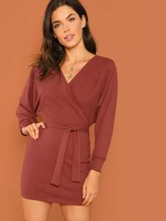 Surplice Neck Solid Dress