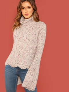 Speckled Turtleneck Wavy Hem Knit Pullover Sweater