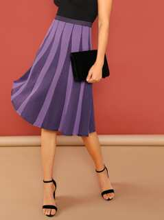 Metallic Stretch Knit Flared Knee Length Skirt
