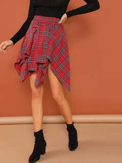 Knot Front Asymmetrical Plaid Skirt