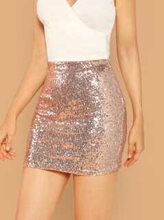Elastic Waist Sequined Stretch Mini Skirt