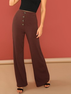 Elastic Waist Button Detail Rib Knit Wide Leg Pant