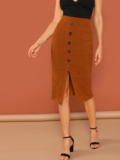 Elastic Waist Button Detail Rib Knit Slit Skirt