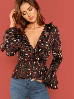 Leopard Print Ruffle Detail Flared Sleeves Blouse