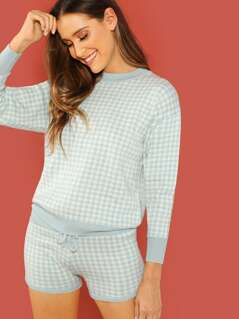 Gingham Print Sweatshirt And Lounge Shorts Set