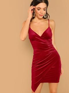 Wrap Detail Velvet Cami Stretch Mini Dress