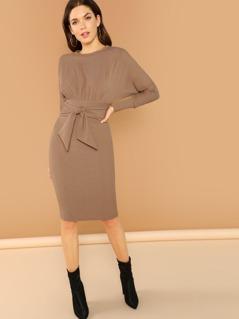 Boatneck Waist Tie Rib Knit Long Sleeve Dress