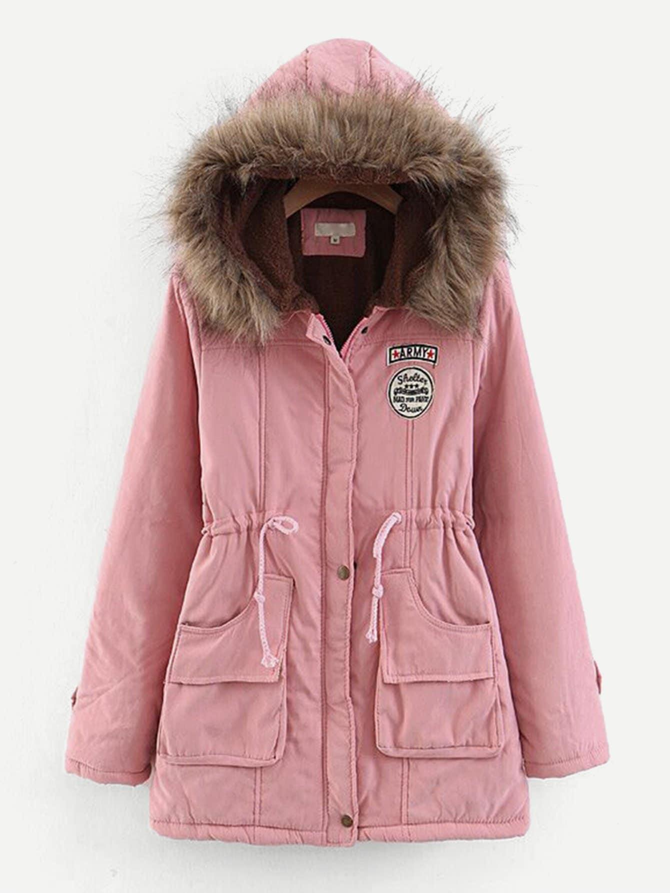 Фото - Пальто из искусственных мехов с эластичной талией от SheIn розового цвета