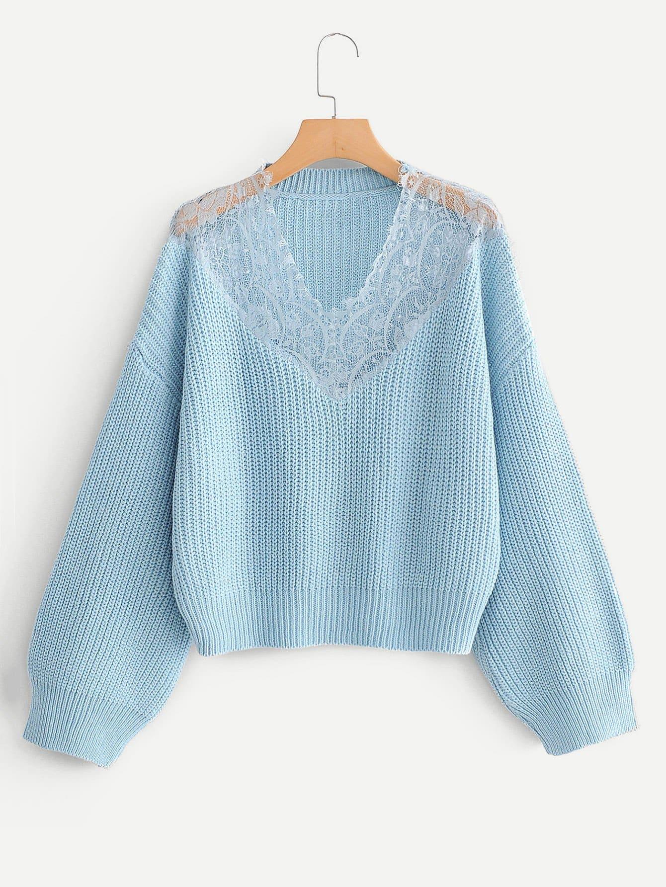 Фото - Размера плюс однотонный свитер с кружевами от SheIn цвет синие