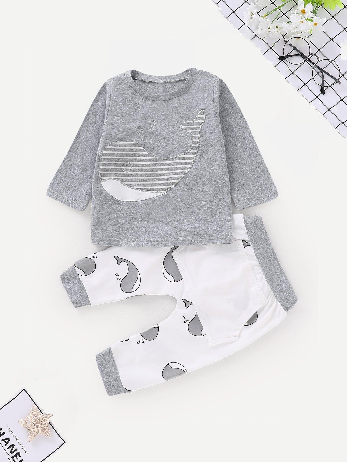 Купить Блуза с принтом мультяшным и брюки для маленьких малышей, null, SheIn