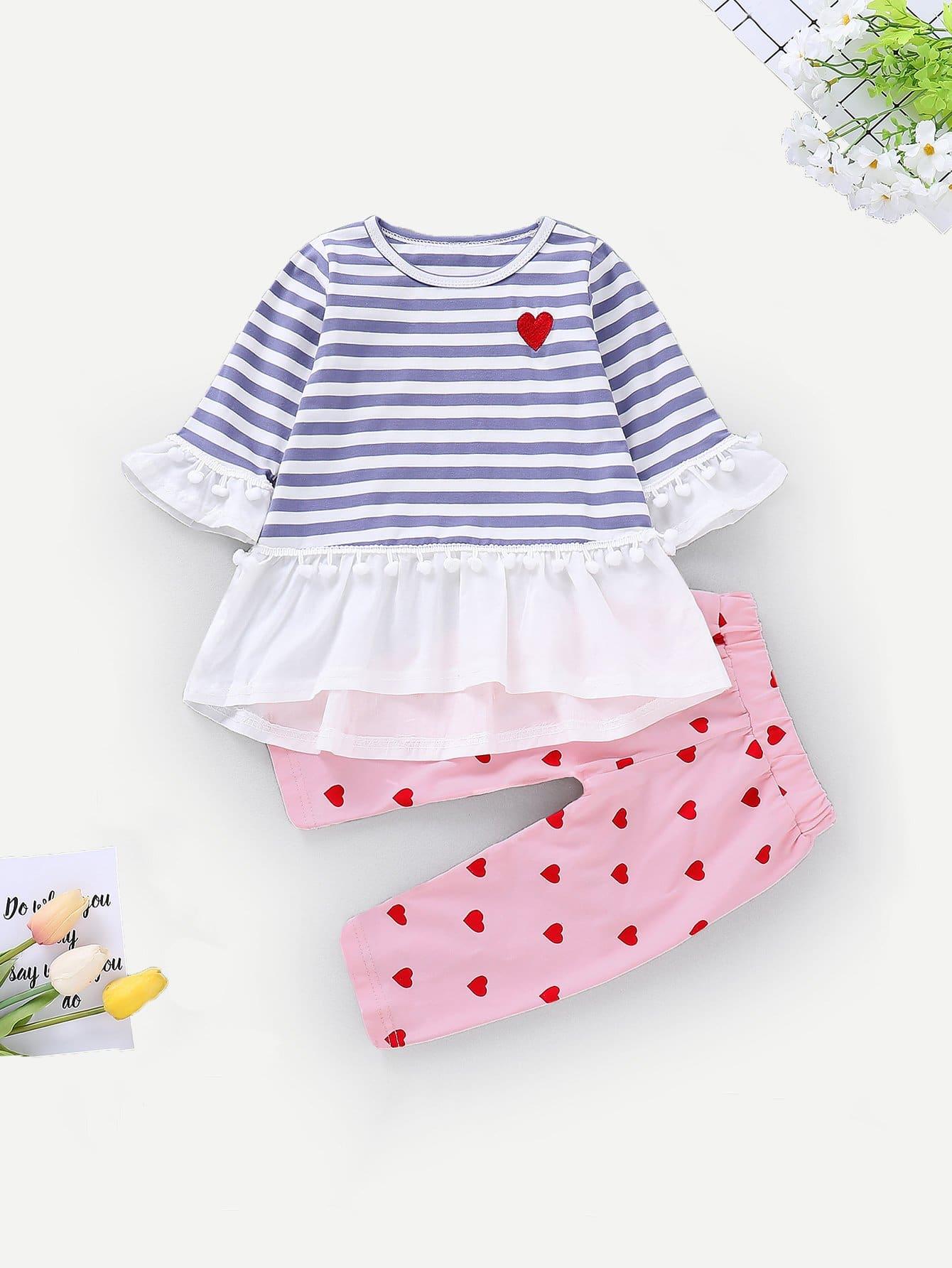 Купить Полосатая блуза с помпоном и брюки для маленьких малышей, null, SheIn