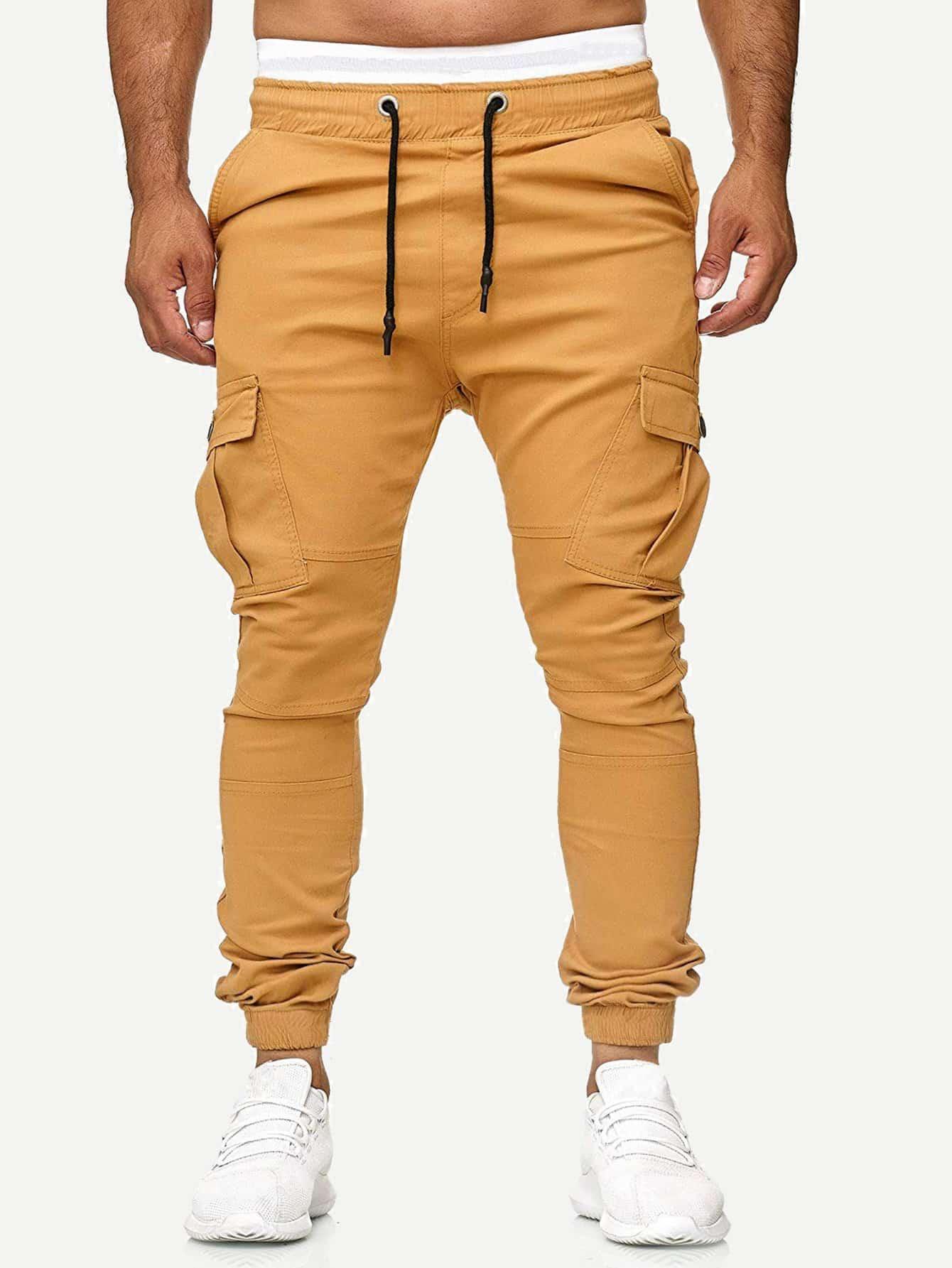 Купить Мужские однотонные брюки с карманом и кулиской, null, SheIn