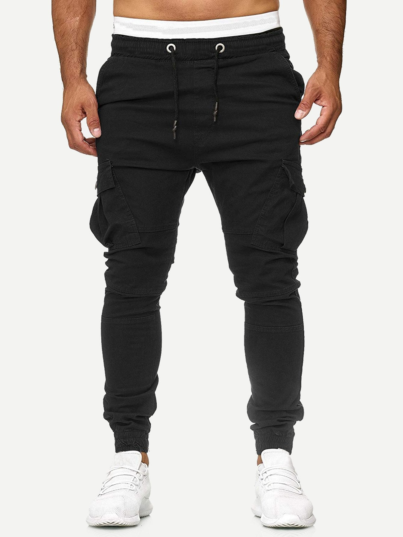 Фото - Мужские однотонные брюки с карманом и кулиской от SheIn черного цвета