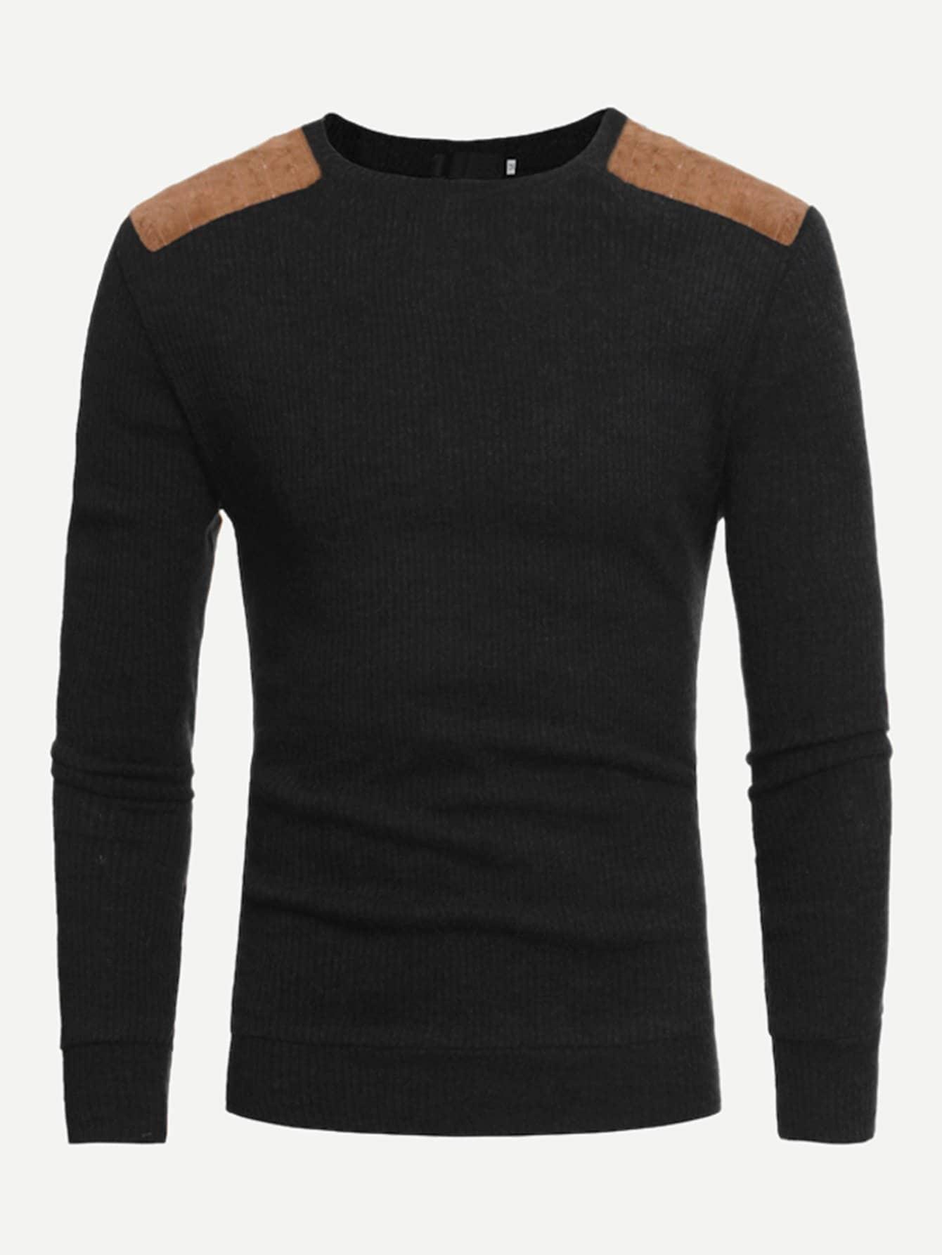 Фото - Мужский контрастный утеплённый свитер от SheIn черного цвета